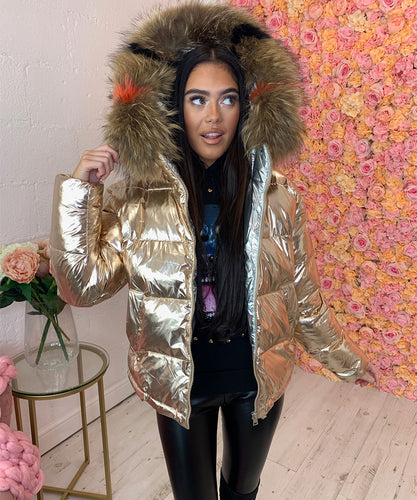Gold Metallic Fur Hood Coat