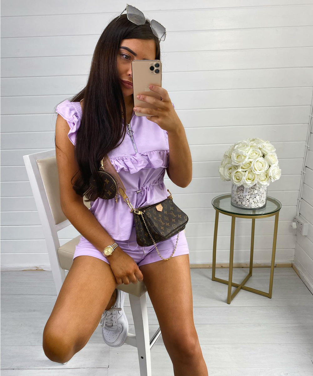 Lilac Frill Tie Up Short Set