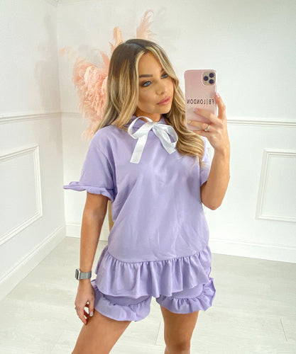 Ribbon Pleated Short Set In Lilac