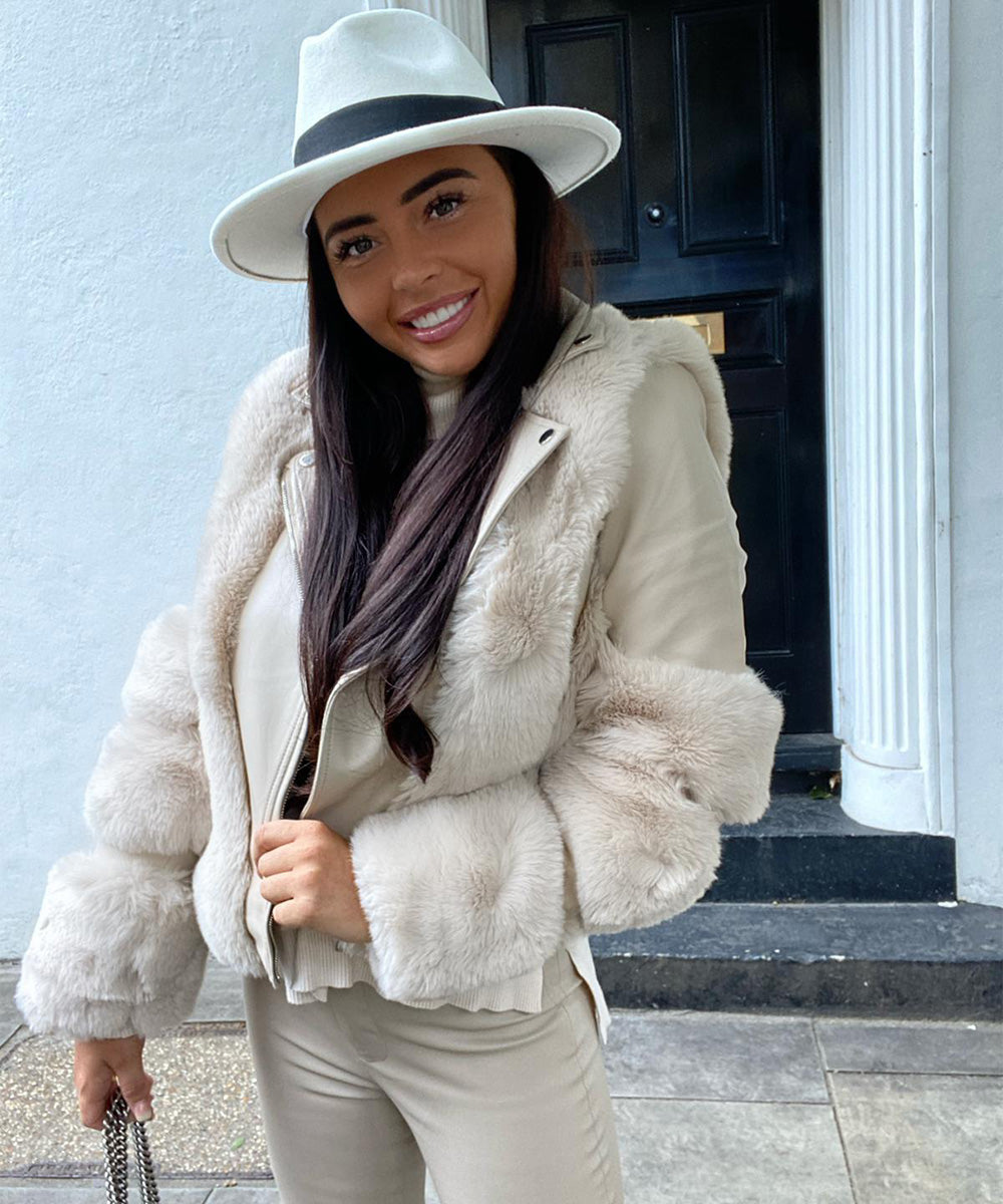 Beige Faux Fur Leather Jacket