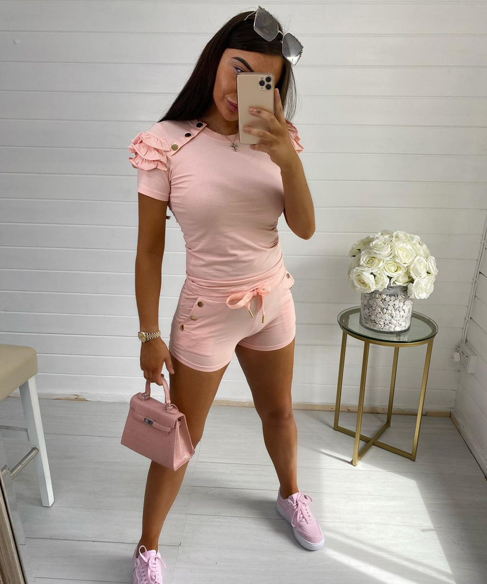 Pink Button Frill Short Set
