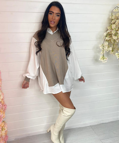 Oversized Jumper Dress - Stone