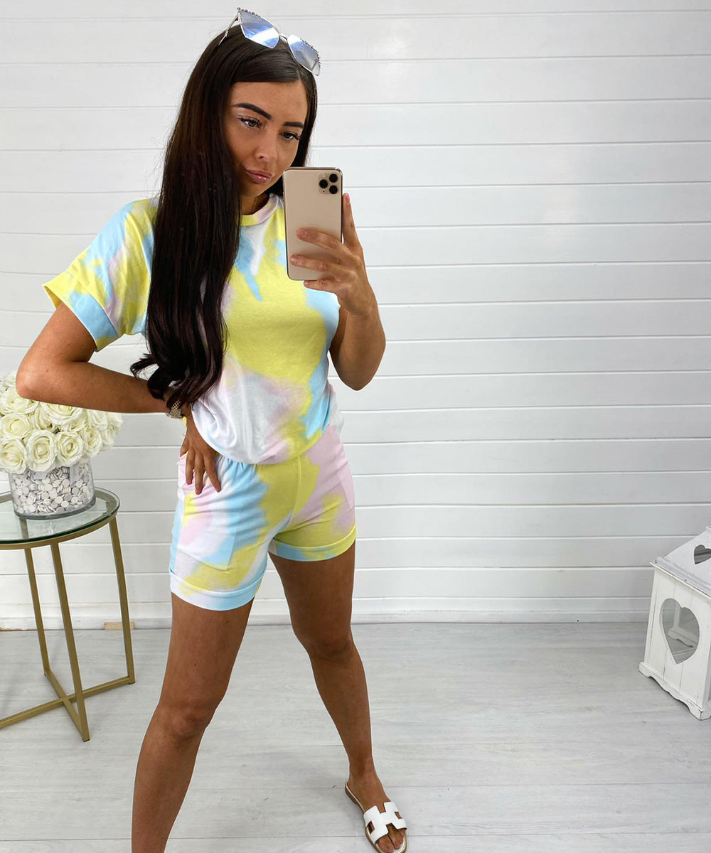 Baby Blue Short Sleeve Tie Dye Short Set
