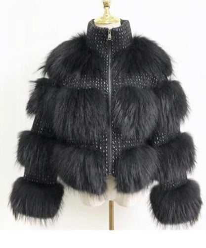 Black Chunky Fur Coat