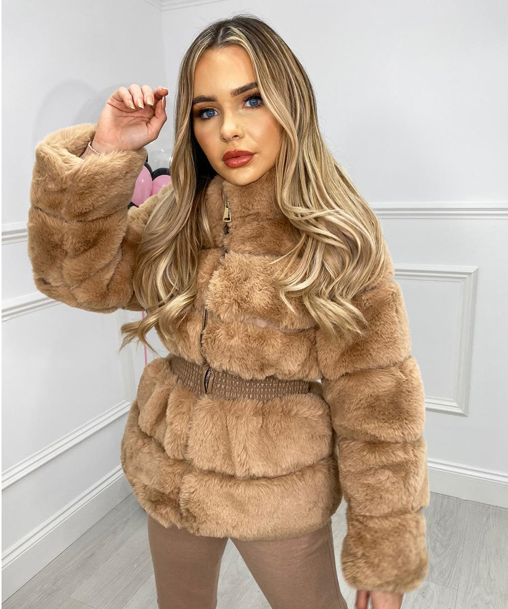 Faux Fur Waist Detail Jacket In Tan