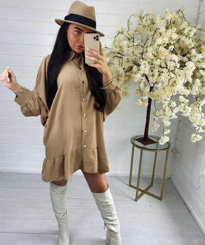 Tan Oversized Button Dress