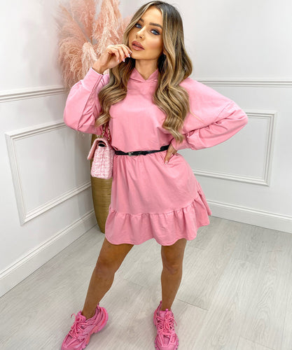 Belt Peplum Dress In Bubblegum Pink