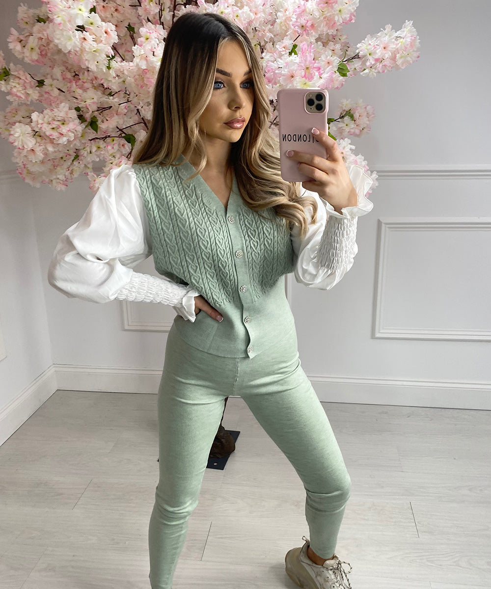 Button Shirt Lounge Set In Mint