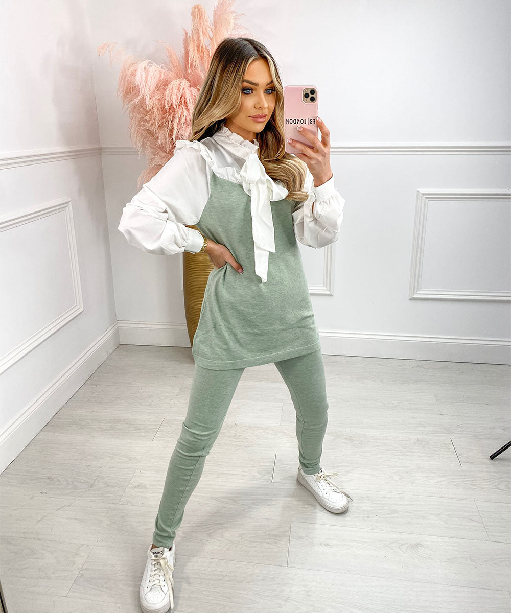 JESSIE Shirt Lounge Set In Mint