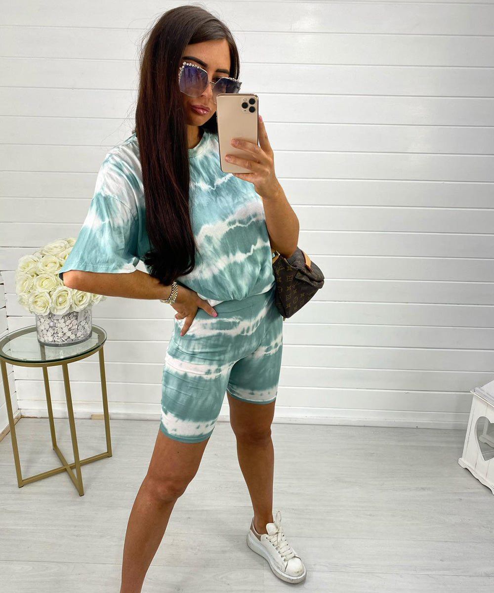 Mint Tie Dye Cycling Set