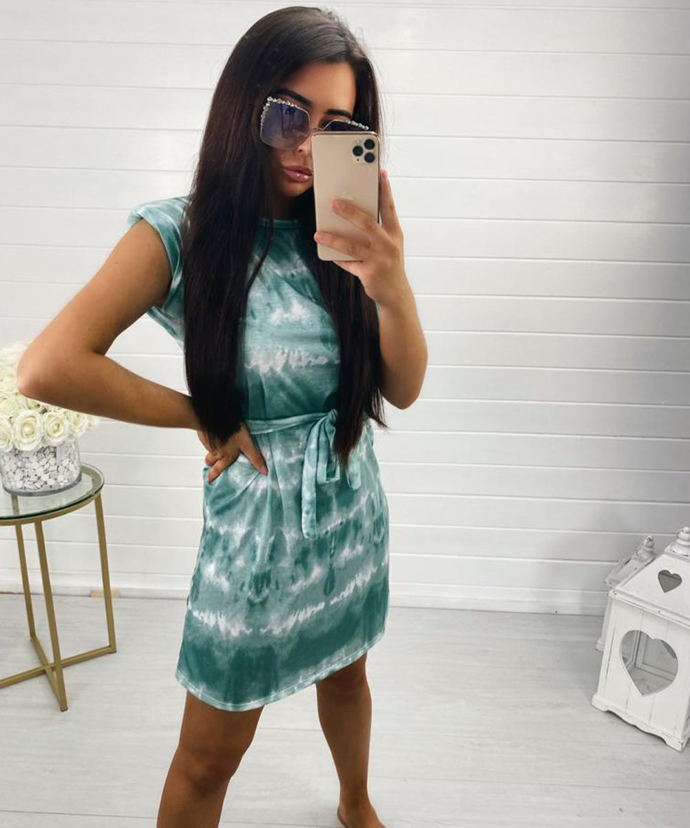 Mint Shoulder Padded Tie Dye Dress