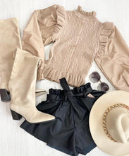 Button Frill Shirt Top In Beige