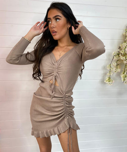 Ribbed Ruched Dress Mocha