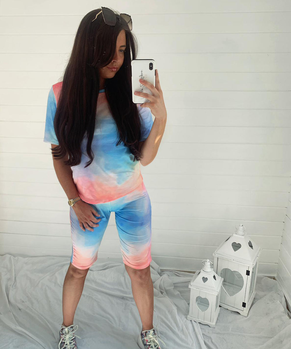 Multi-Colour Tie Dye Cyling Short Set