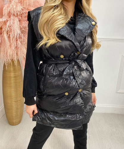 Button Three Piece Gilet Hoody Lounge Set In Black