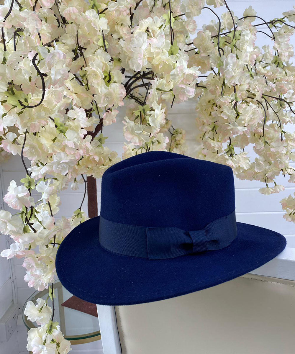 Navy Bow Fedora Hat