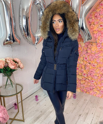 Navy Pocket Belted Fur Hood Coat