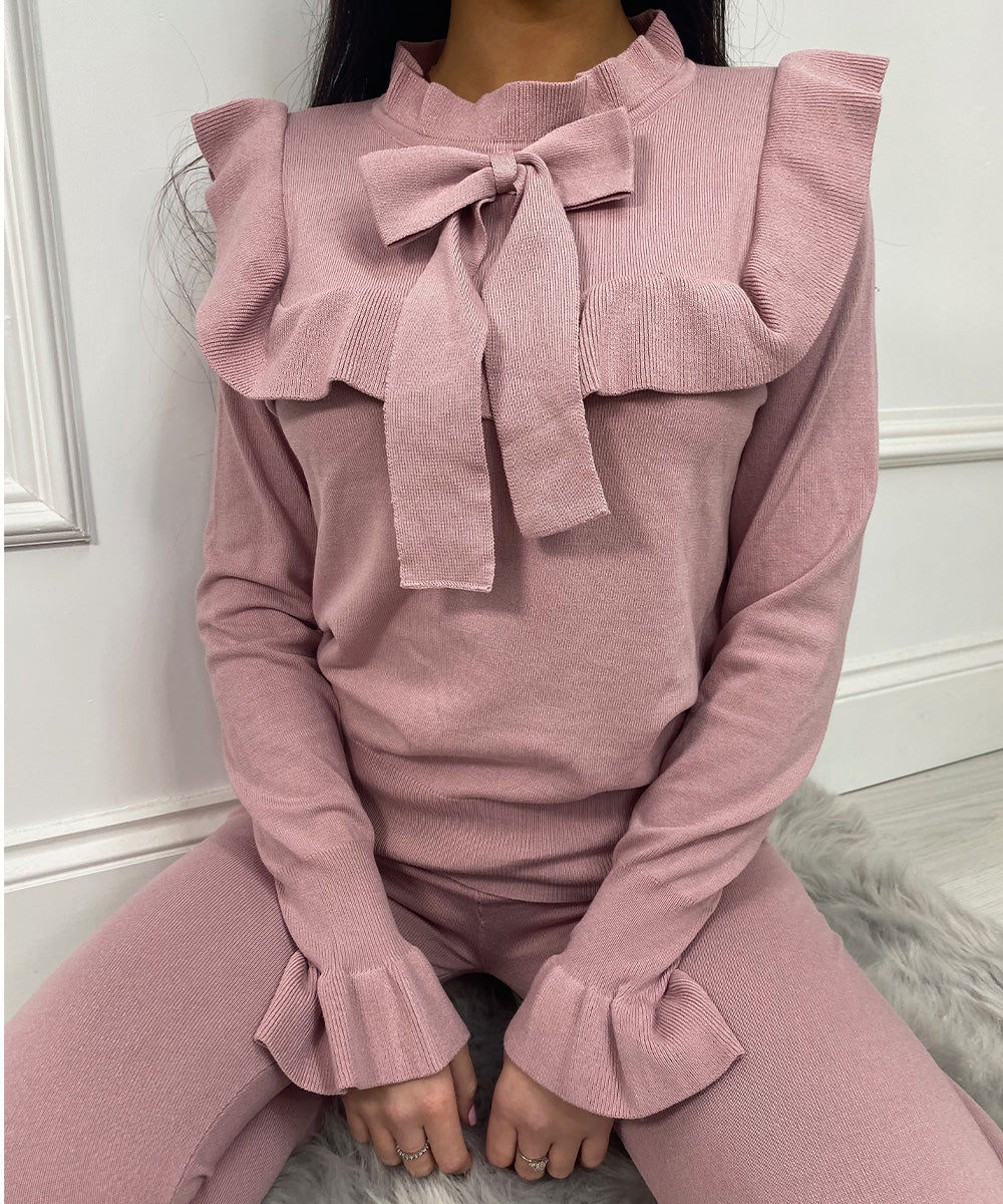 Frill Bow Lounge Set In Pink