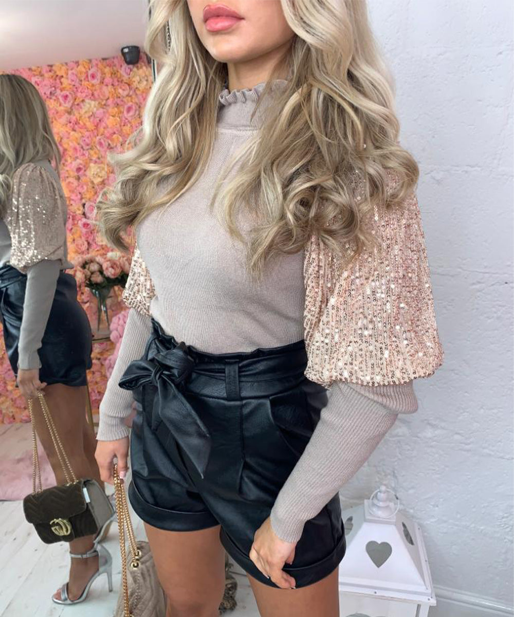 High Neck Sequin Detailed Top
