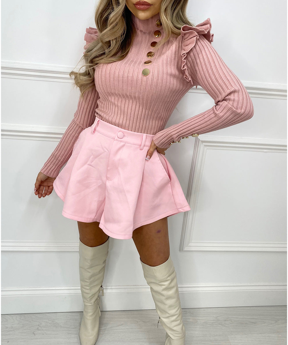 High Waist Flared Shorts In Pink