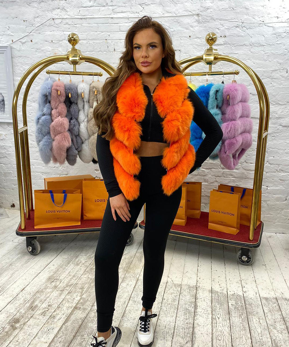 Four Row Fur Gilet In Orange