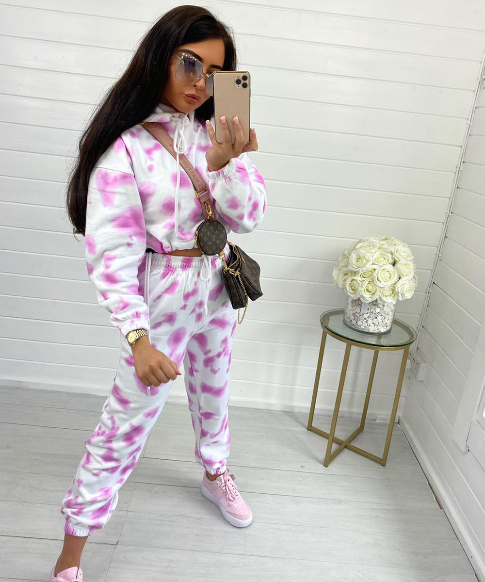 Baby Pink Grey Hooded Tie Dye Jogger Set