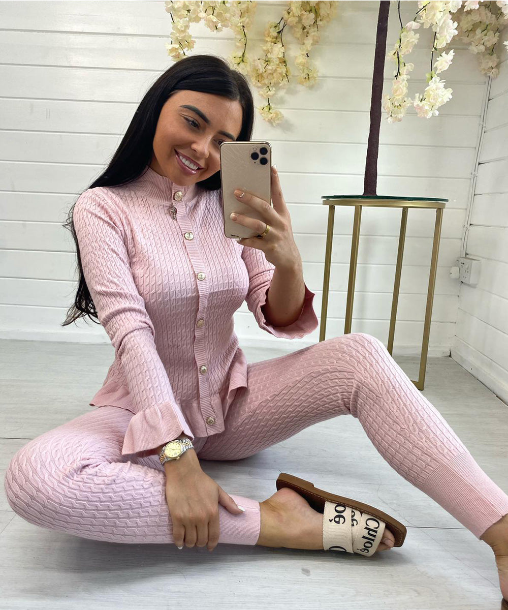 Soft Knit Button Lounge Set (Pink)