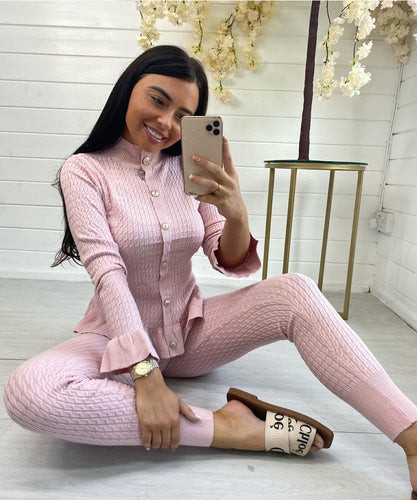 PRE ORDER - Soft Knit Button Lounge Set (Pink)