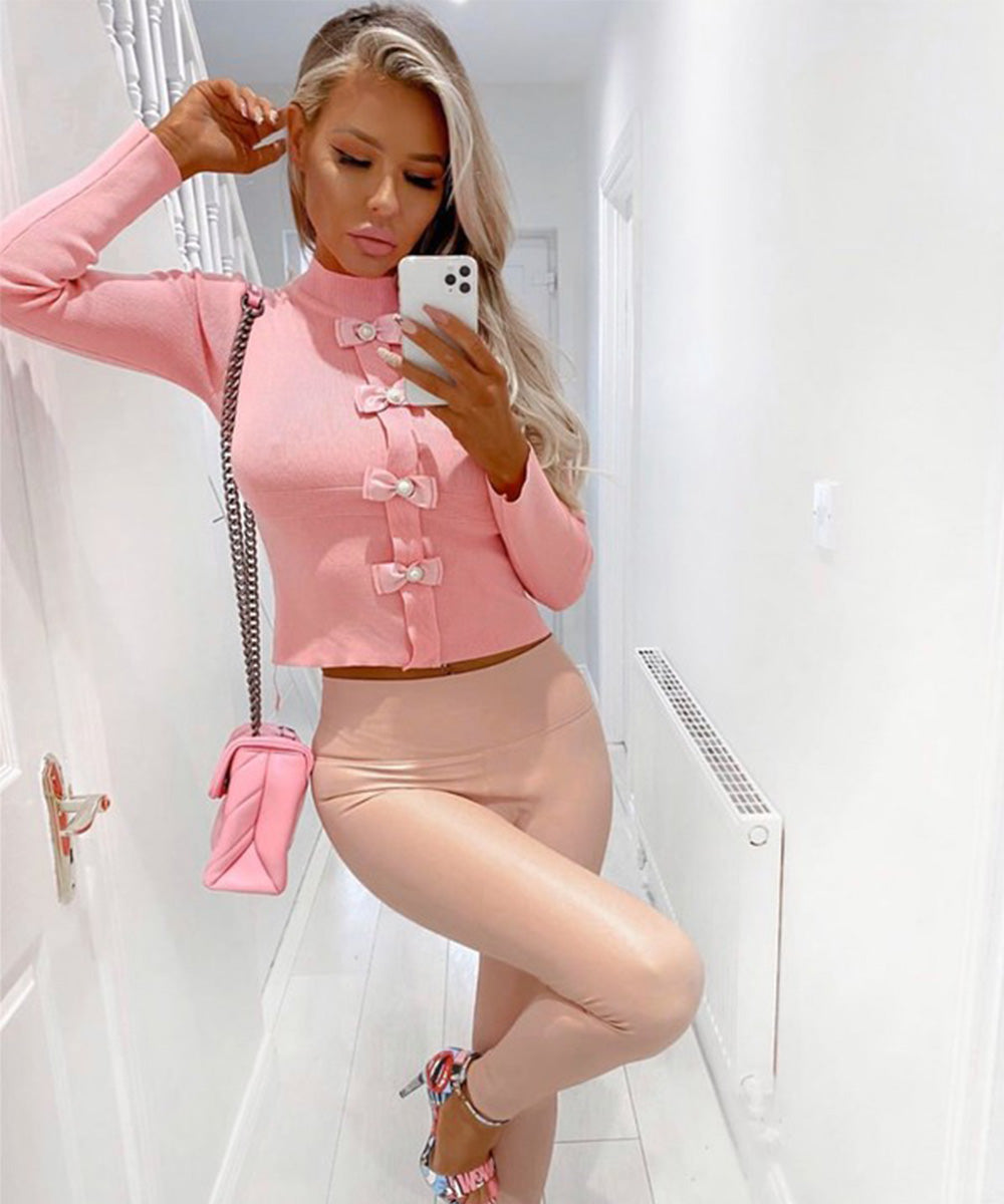 High Waisted Leather Look Leggings Pink