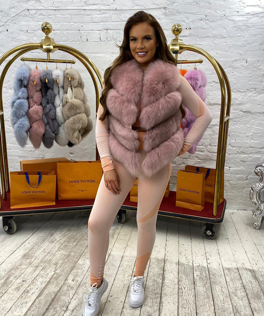 Four Row Fur Gilet In Pink
