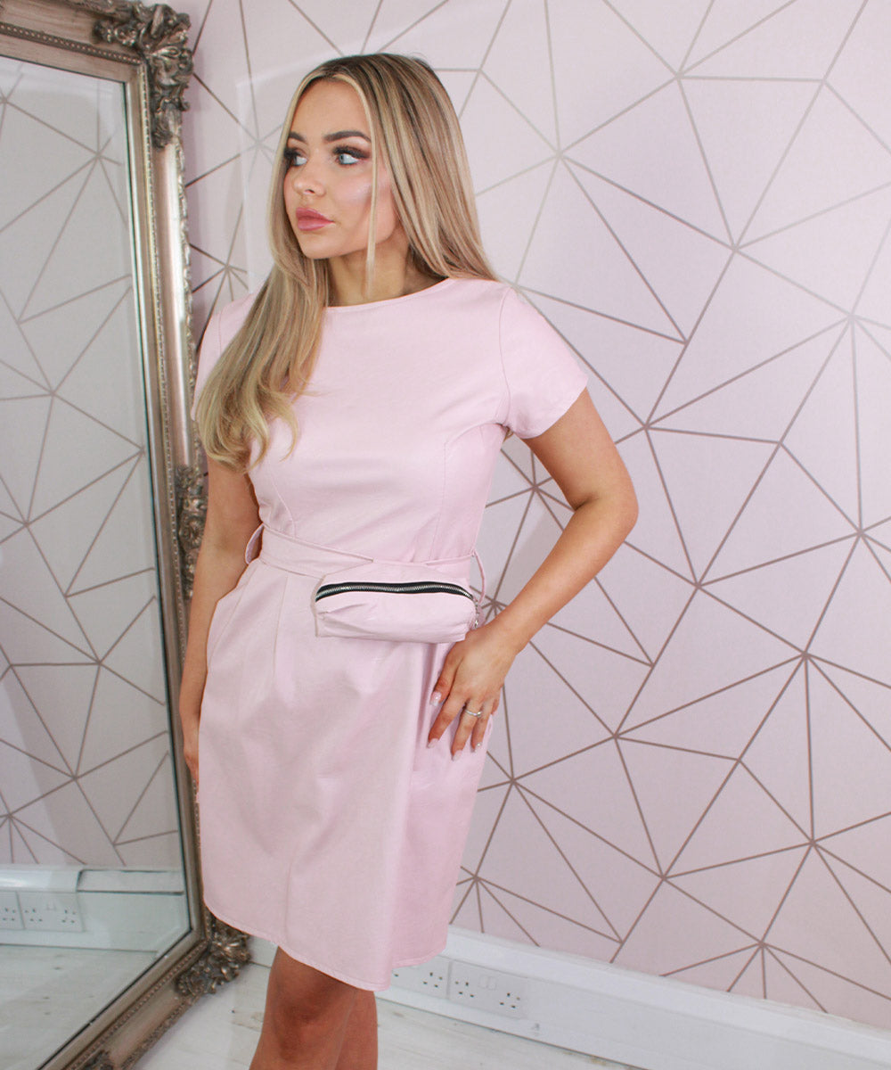 Faux Leather Belt Dress