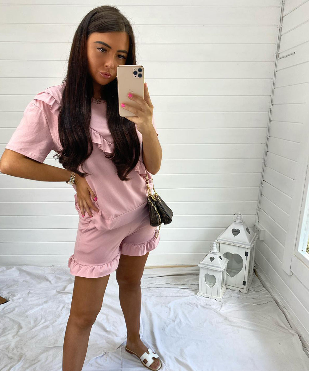 Pink Frill Short Set