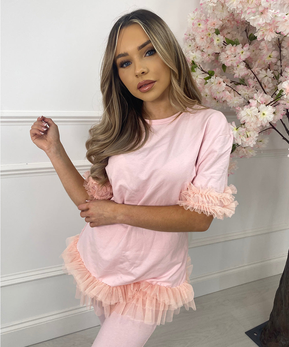 Tutu Hem Lounge Set In Pink