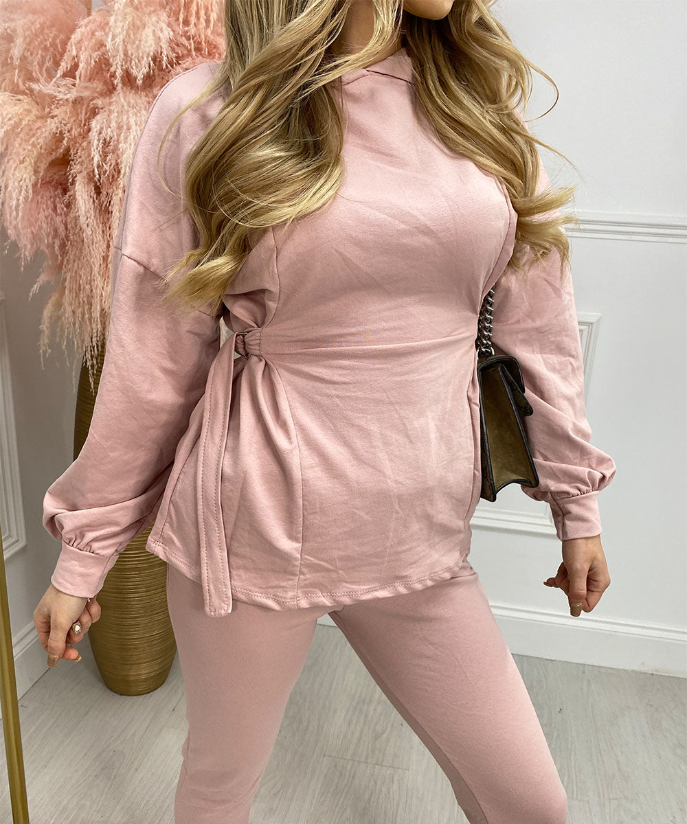 Hooded Side Detail Co-Ord In Pink