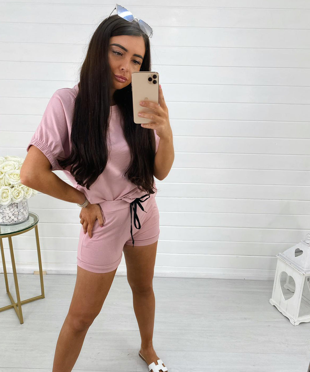 Pink Short Sleeve Short Set