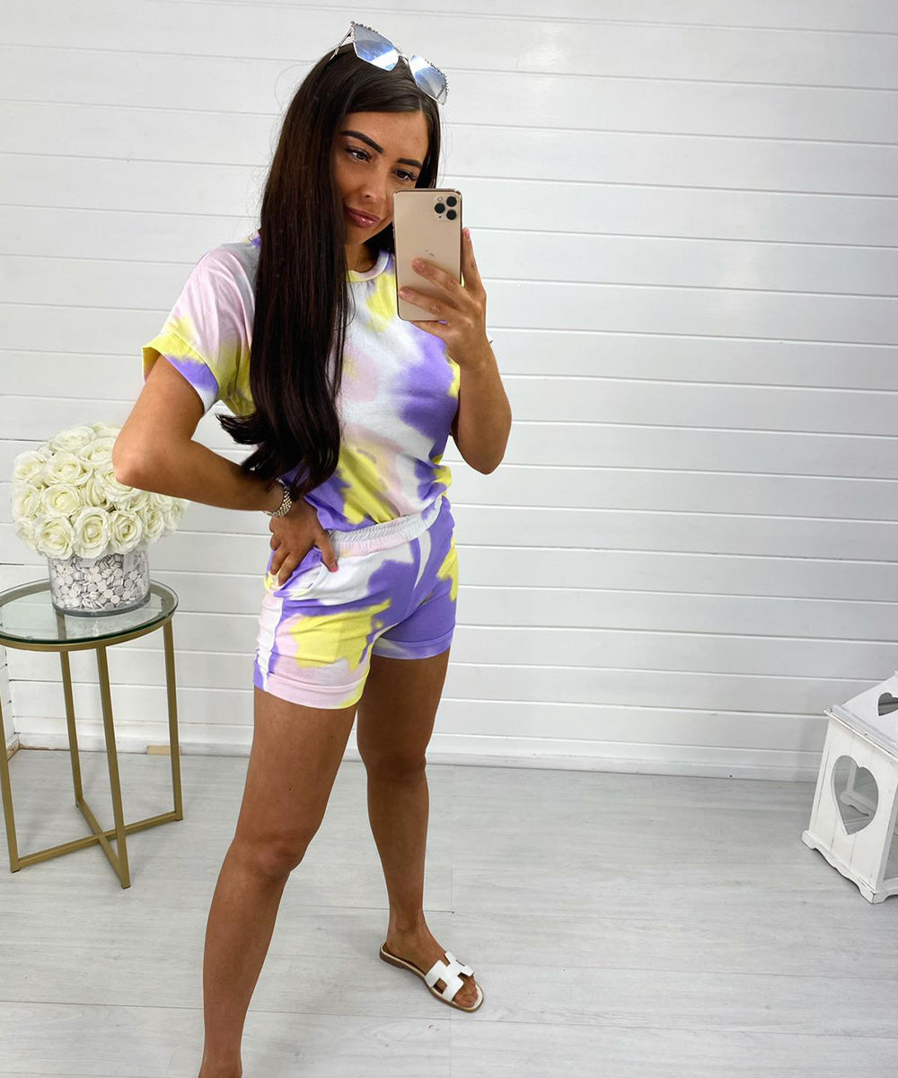 Lilac Short Sleeve Tie Dye Short Set