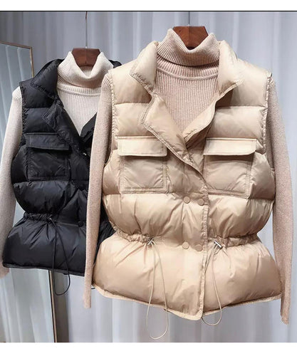Double Button Bodywarmer - Tan