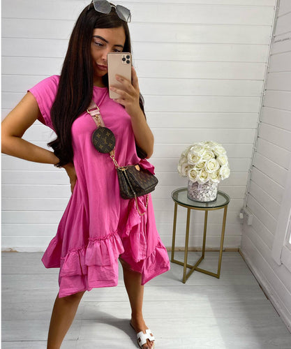 Hot Pink Oversized Frill Dress