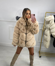 Five Row Faux Fur Coat In Cream