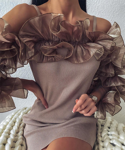 Ruffle Sleeve Ribbed Dress