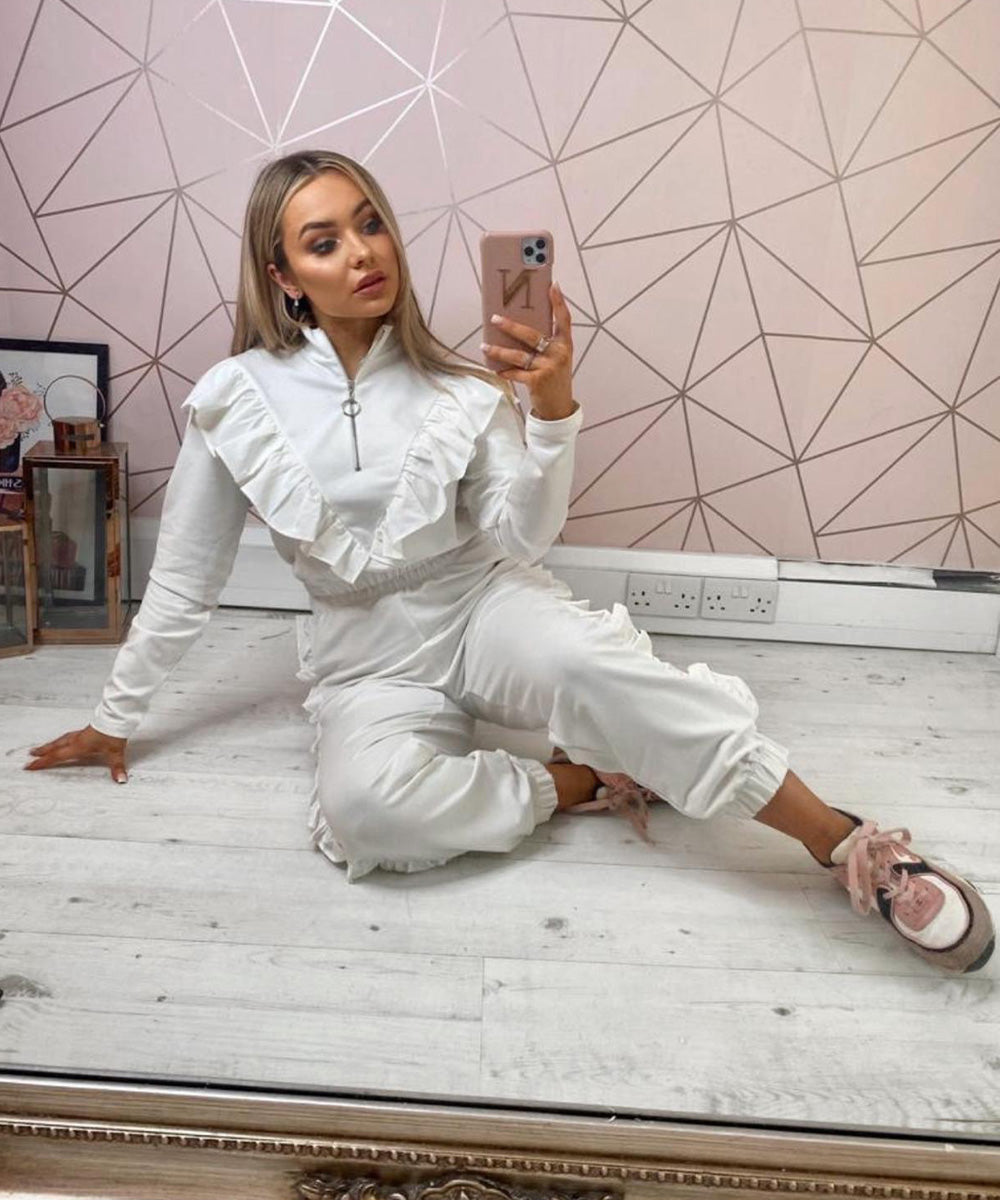 White Exclusive Ruffle Zip Lounge Set