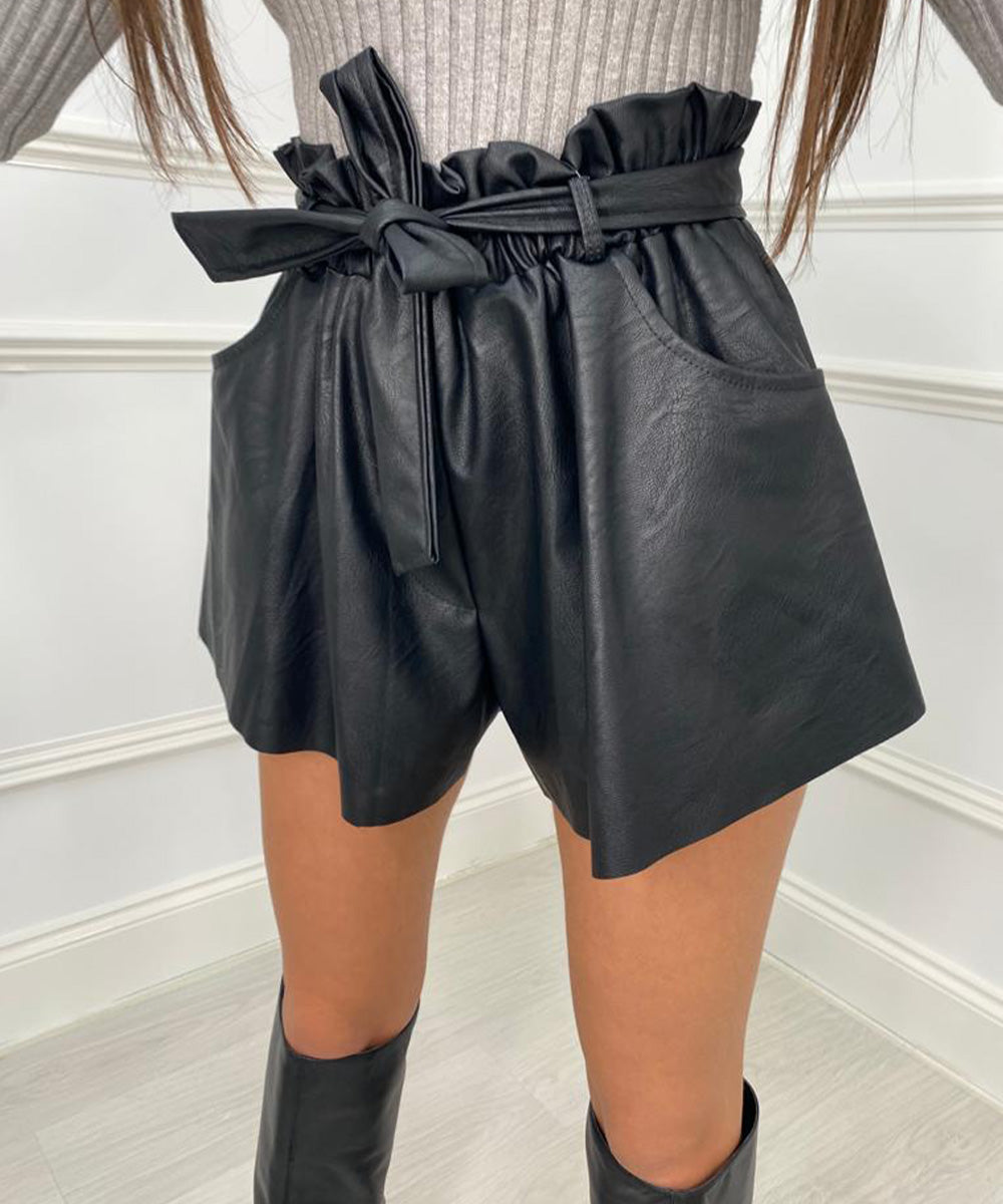 High Waist Faux Leather Flared Shorts - Black
