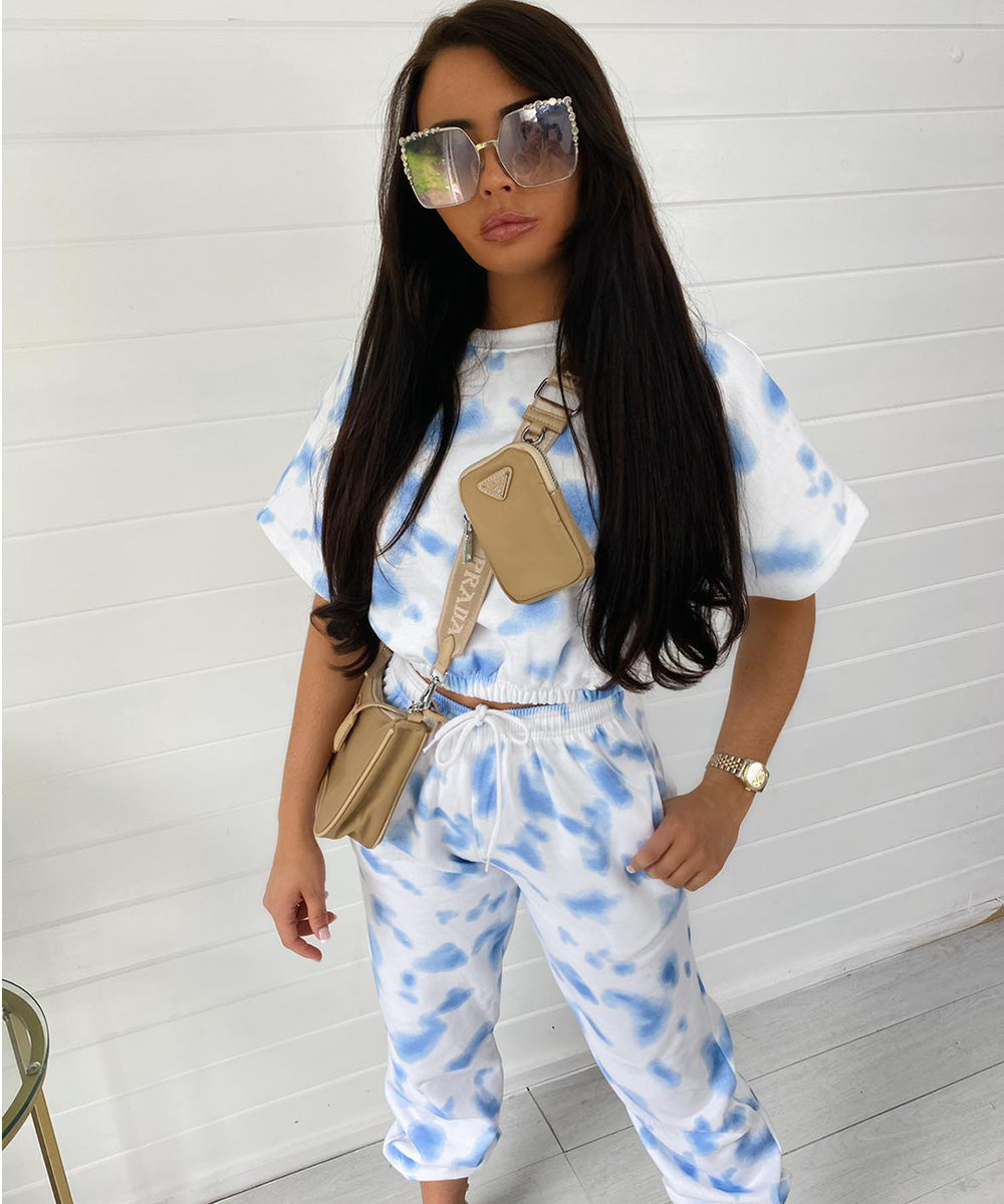 Baby Blue Short Sleeve Tie Dye Lounge Set