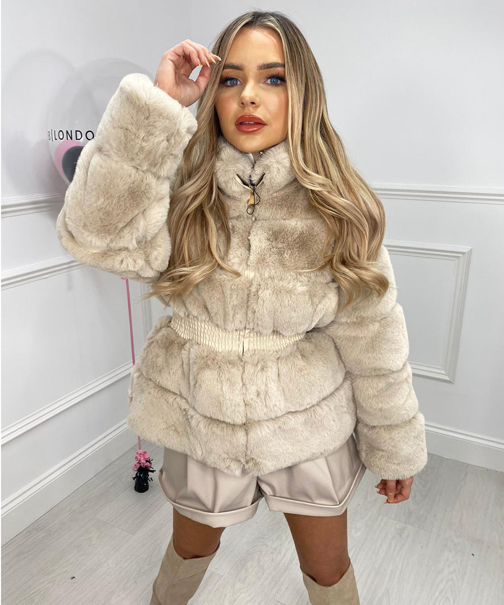 Faux Fur Waist Detail Jacket In Cream