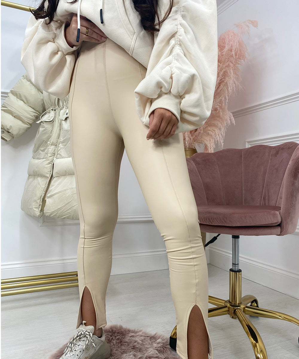 High Waisted Slit Leggings In Cream
