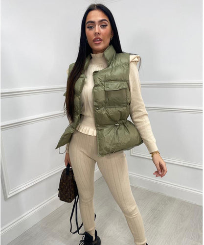 Double Button Gilet In Khaki