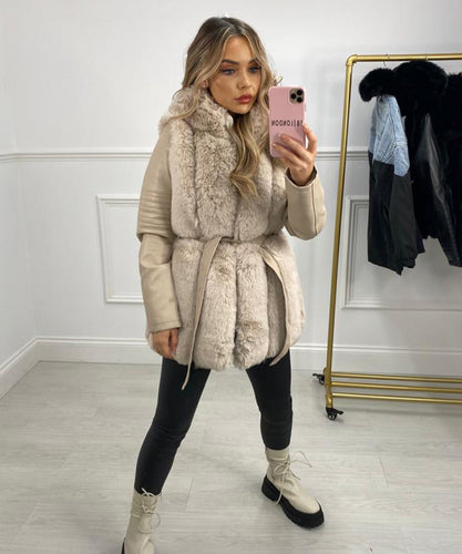Faux Leather Hooded Jacket In Beige