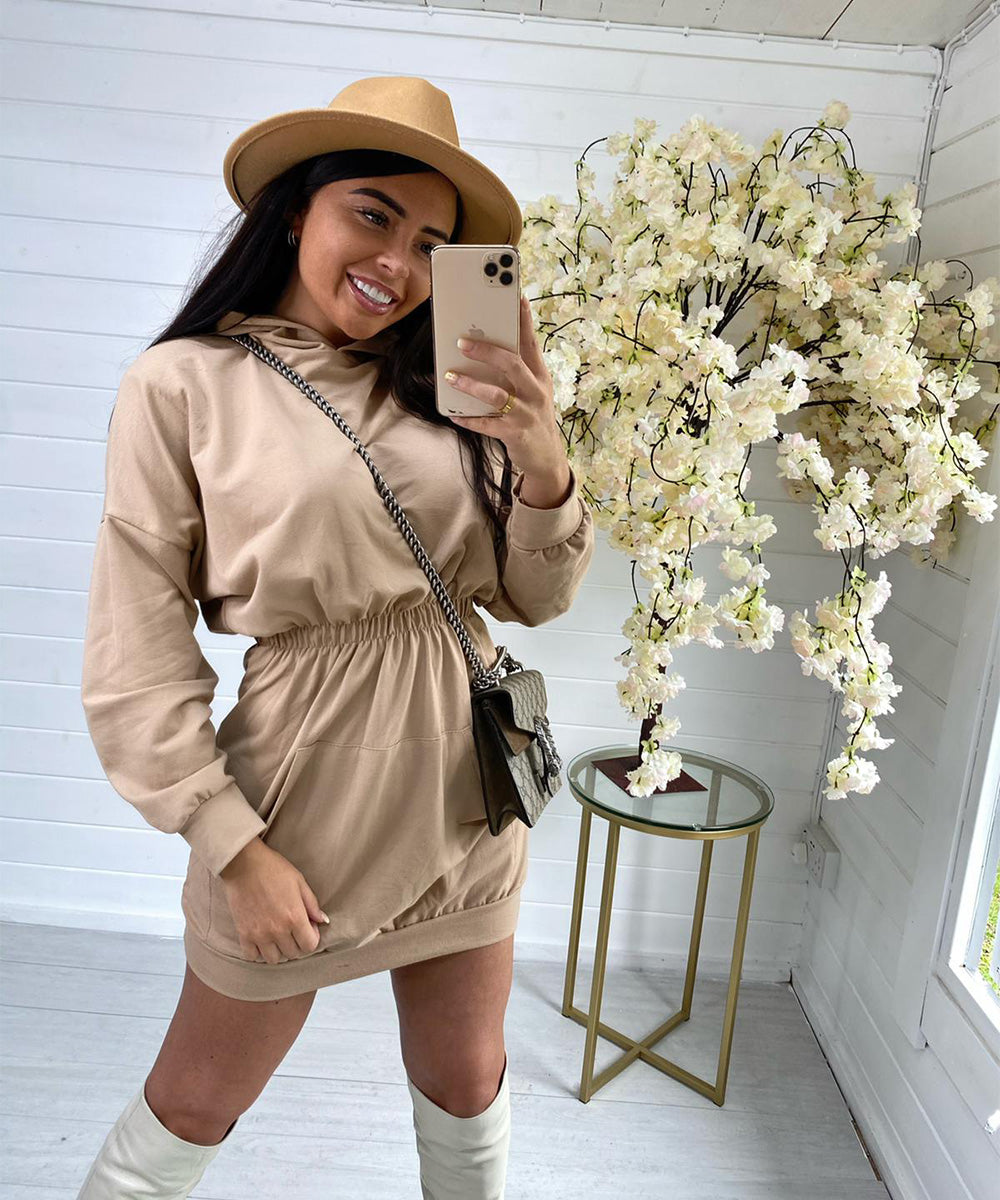 Tan Hooded Jumper Dress