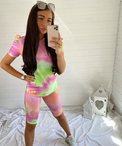 Pink & Green Ruched Sleeve Tie Dye Short Set