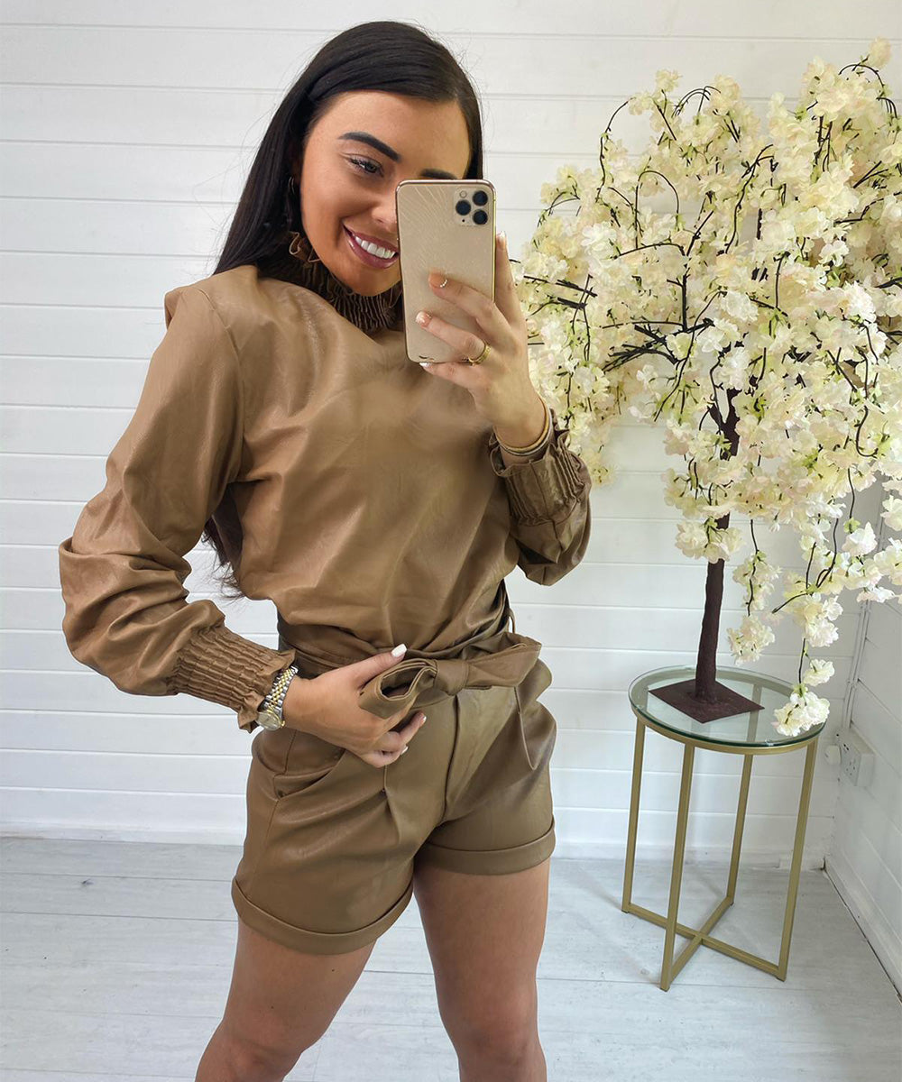 Tan Faux Leather Tie Up Shorts